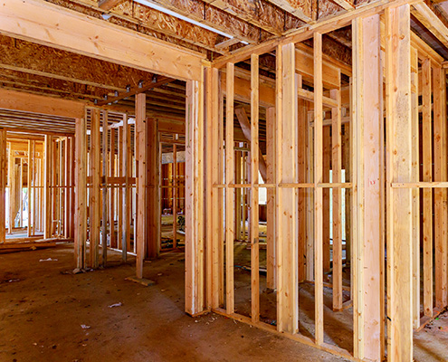 Newly framed home interior
