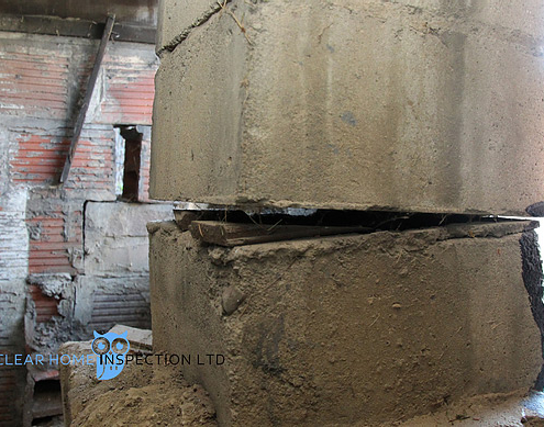 Block foundation pier that is structurally compromised